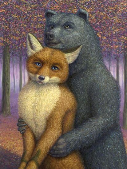 Fox and Bear Couple-W Johnson James-Giclee Print