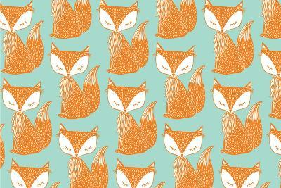 Fox Background Vector/Illustration- lyeyee-Art Print
