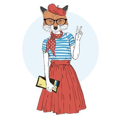 Fox Girl Dressed up in French Style-Olga_Angelloz-Art Print