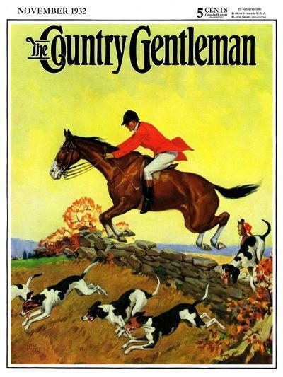 """Fox Hunter,"" Country Gentleman Cover, November 1, 1932-Robert Keareote-Giclee Print"