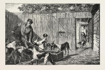 Fox Hunting, Breakfast Time at the Kennels, Hunt, 1876, UK--Giclee Print