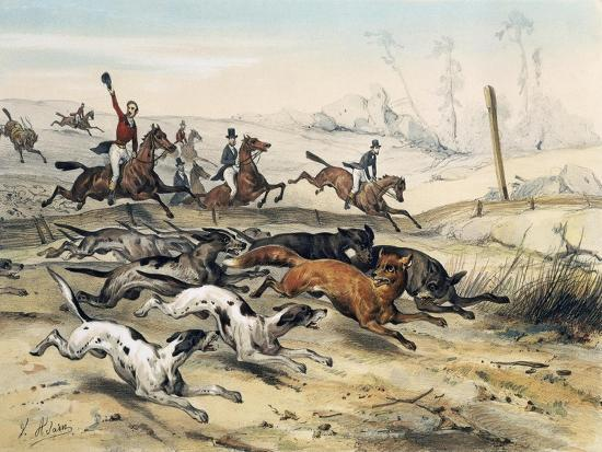 Fox Hunting, by Jean Victor Adam (1801-1866)--Giclee Print