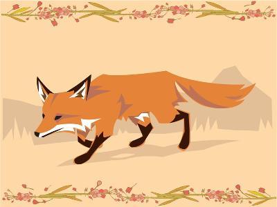 Fox in a Decorative Composition-Artistan-Art Print