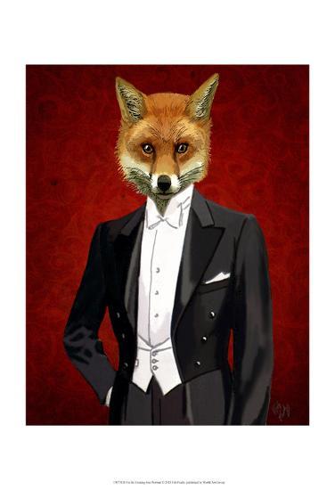 Fox In Evening Suit Portrait-Fab Funky-Art Print