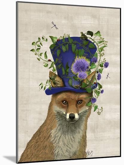 Fox Mad Hatter-Fab Funky-Mounted Art Print