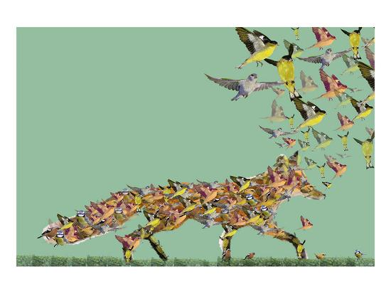 Fox of birds-Claire Westwood-Art Print