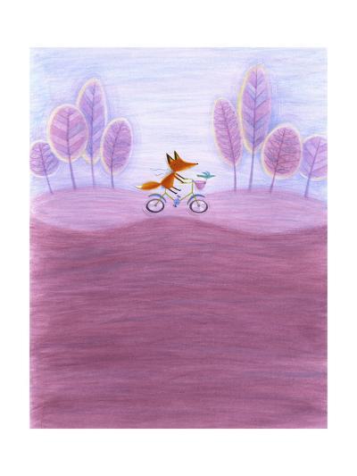 Fox Riding Bicycle Through Purple Tree-Lined Landscape--Art Print