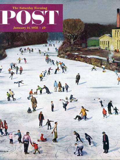 """Fox River Ice-Skating"" Saturday Evening Post Cover, January 11, 1958-John Falter-Premium Giclee Print"