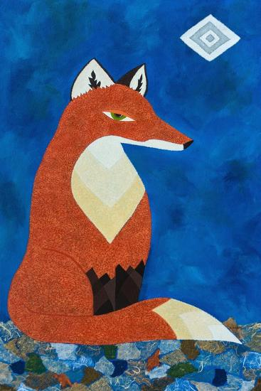 Fox under Diamond Moon-Casey Craig-Art Print