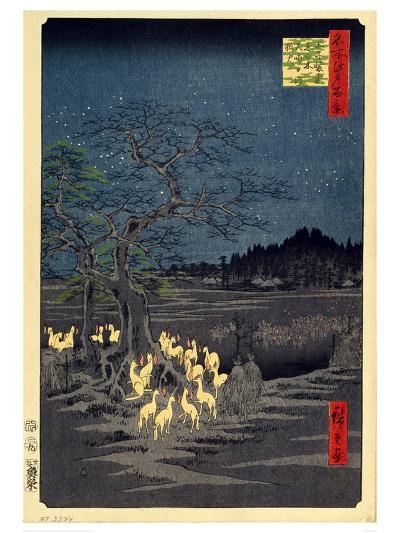Foxes Meeting at Oji-Utagawa Hiroshige-Art Print