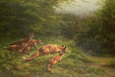 Foxes Waiting for the Prey-Carl Friedrich Deiker-Giclee Print