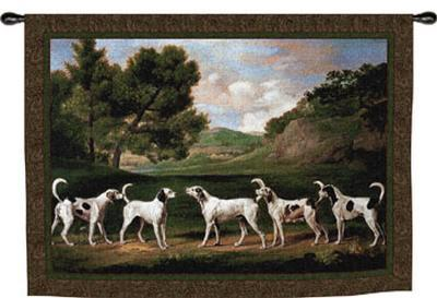Foxhounds in a Landscape-George Stubbs-Wall Tapestry