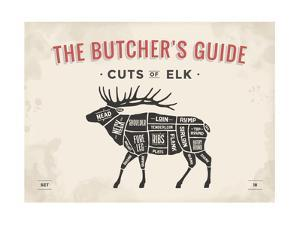 Cut of Meat Butcher Diagram - Elk by foxysgraphic