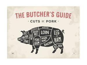 Cut of Meat Butcher Diagram - Pig by foxysgraphic