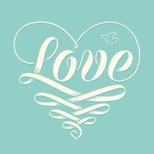 Love in Heart with Old School Engraving Ribbon by foxysgraphic