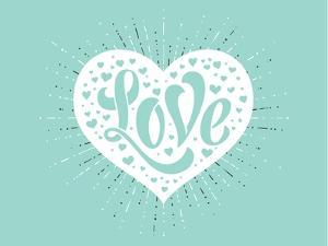 Love in White Heart on a Turquoise Background by foxysgraphic