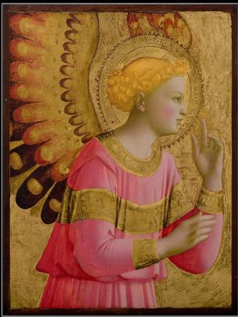 Annunciatory Angel, 1450-55 (Gold Leaf and Tempera on Wood Panel) (See also 139312)