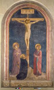 Crucifixion, Virgin, SS John the Evangelist and Dominic from the Convent of San Marco, c.1442 by Fra Angelico