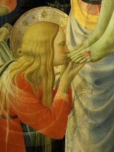 Mary Magdalene Kissing Christ's Feet, from the Deposition of Christ, 1435 (Detail) by Fra Angelico