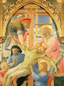 Santa Trinita Altarpiece, Detail of the Dead Christ Being Lowered from the Cross, C.1434 by Fra Angelico