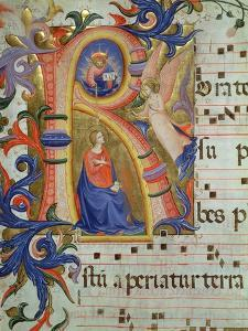 The Annunciation Depicted in an Historiated Initial 'R', Detail from a Missal, c.1430 by Fra Angelico