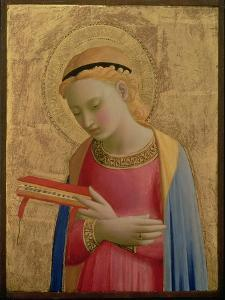 Virgin Annunciate, 1450-55 (Gold Leaf and Tempera on Wood Panel) (See also 139311) by Fra Angelico