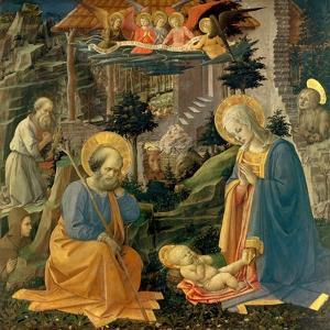 The Adoration of the Child with the Saints Joseph, Hilary, Jerome and Mary Magdalene, about 1455 by Fra Filippo Lippi