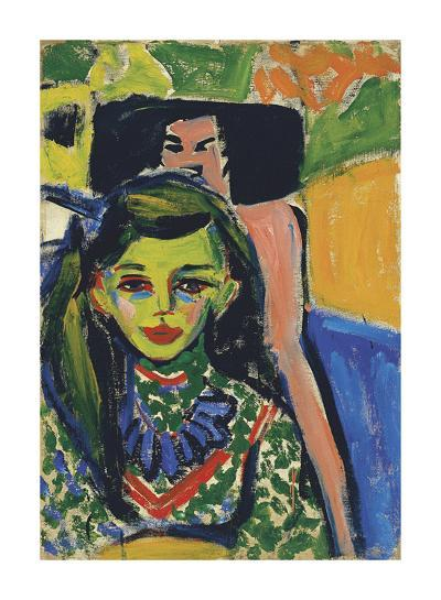 Fränzi in front of a Carved Chair, 1910-Ernst Ludwig Kirchner-Premium Giclee Print