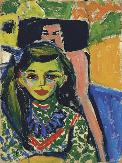 Fränzi in Front of Carved Chair, 1910-Ernst Ludwig Kirchner-Giclee Print