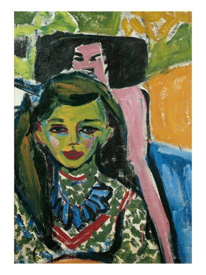 Fränzi in Front of Carved Chair-Ernst Ludwig Kirchner-Art Print