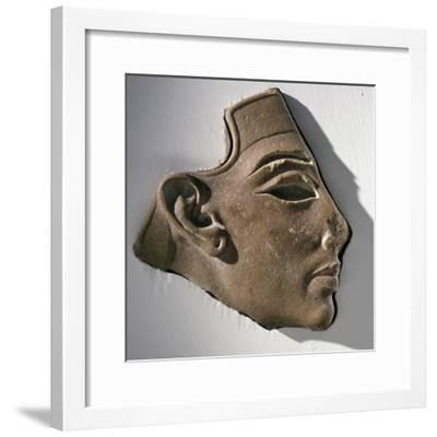 Fragment of a head, Ancient Egyptian, Amarna period, c1350-1334 BC-Werner Forman-Framed Photographic Print