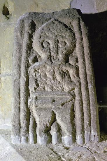 Fragment of an Anglo-Scandinavian cross-shaft showing a warrior, c.10th century. Artist: Unknown-Unknown-Giclee Print