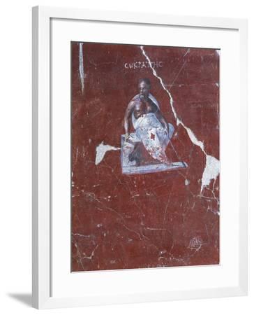 Fragment of Fresco Depicting Socrates, from Ephesus, Terrace House, Turkey--Framed Giclee Print