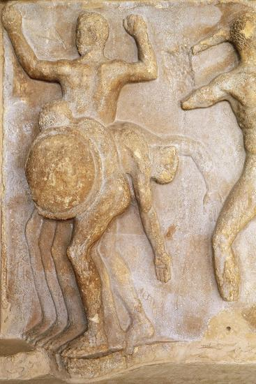 Fragment of Frieze Portraying Three-Bodied Geryon, from Theatre at Delphi, Greece--Giclee Print