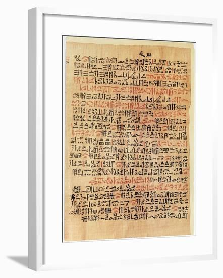 Fragment of the Ebers Papyrus, New Kingdom, c.1550 BC-Egyptian 18th Dynasty-Framed Giclee Print