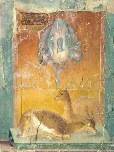 Fragment of Wall Decoration in Second Pompeian Style Showing Ducks and Antelopes--Giclee Print