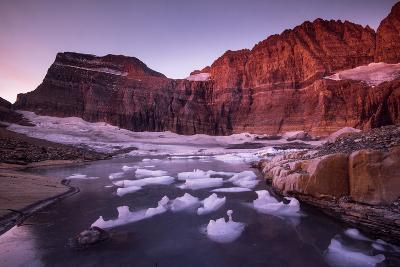 Fragments of Recently Calved Ice Float at the Foot of Grinnell Glacier-Keith Ladzinski-Photographic Print