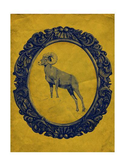 Framed Bighorn Sheep in Yellow-THE Studio-Premium Giclee Print