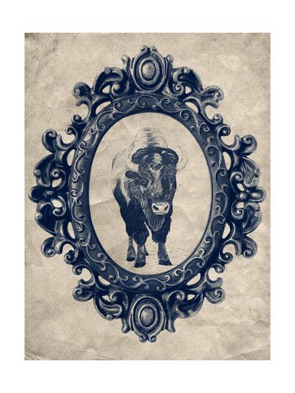 Framed Bison in Navy-THE Studio-Premium Giclee Print