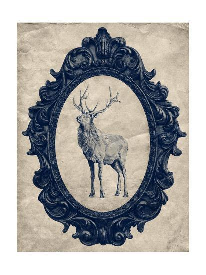 Framed Elk in Navy-THE Studio-Premium Giclee Print