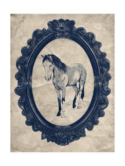 Framed Paint Horse in Navy-THE Studio-Premium Giclee Print