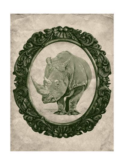 Framed Rhinoceros in Evergreen-THE Studio-Premium Giclee Print