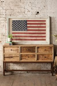 Framed US Flag - Aged White