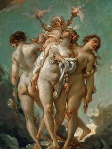 The Three Graces Holding Cupid by Fran?ois Boucher