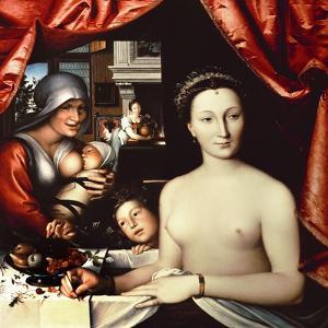 French School. Lady in Her Bath. La Dame Au Bain, 1570 by Fran?ois Clouet