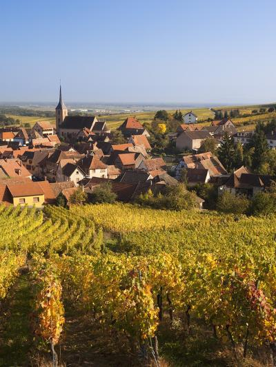 France, Bas-Rhin, Alsace Region, Alasatian Wine Route, Blienschwiller, Town Overview from Vineyards-Walter Bibikow-Photographic Print