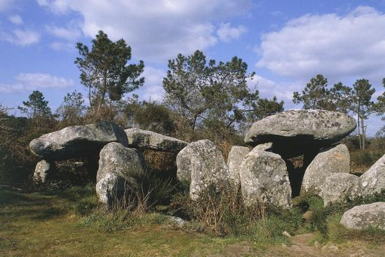 France, Brittany, Surroundings of Carnac, Prehistoric Megalithic Stone Alignments, Keriaval Dolmen--Giclee Print