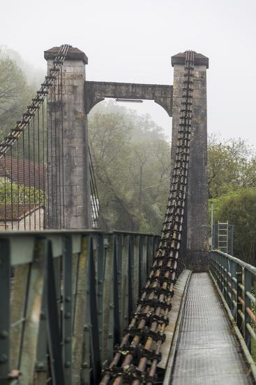France, Cajarc. Early morning fog on the iron bridge over the Lot River.-Hollice Looney-Photographic Print
