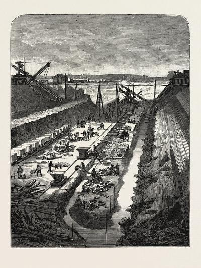 France: Changing the Course of the Seine, View at the Head of the Cut, 1880 1881--Giclee Print