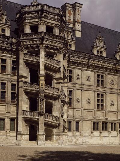 France, Chateau De Blois, Loire Valley, Francis I Wing with Staircase to Inner Courtyard--Photographic Print